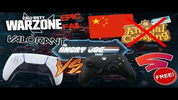 The Angry Joe Show - S2020E84 - AJS News - China Bans Animal Crossing, PS5 Controller Revealed, COD: Warzone RAGE, Stadia Now FREE!